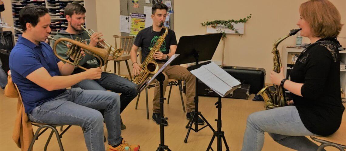 Improvisation Workshop Sax Saxophon Trompete Musikverein Grafenrheinfel SBO Symphonisches Blasorchester Schweinfurt Florian Lutz Florence Christian Nance Christian Berger