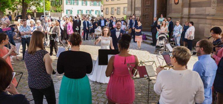 Hochzeit Melanie Schönekäs Jens Vorstand SBO Symphonisches Blasorchester Grafenrheinfeld Pfarrkirche Feier Schweinfurt Musik