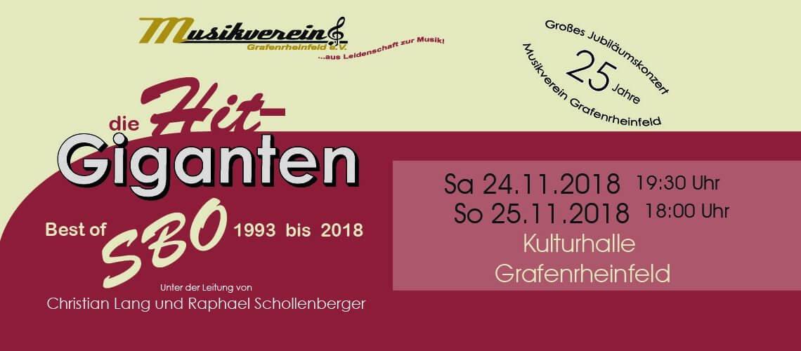 Musikverein Grafenrheinfeld 2018 Hit-Giganten SBO Symphonisches Blasorchester Christian Lang Raphael Schollenberger 25 Jahre Jubiläum Kulturhalle Grafenrheinfeld