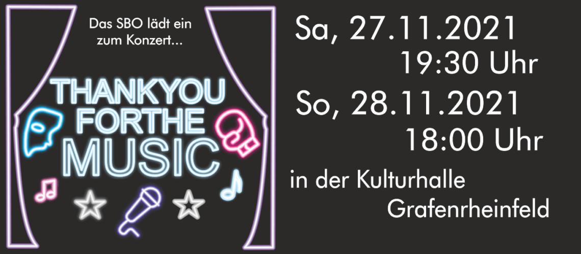 """Das SBO Grafenrheinfeld spielt am 27.11. und 28.11. zusammen mit Dirigent Julius Geiger in der Kulturhalle Grafenrheinfeld unter dem Motto """"Thank you for the music"""""""
